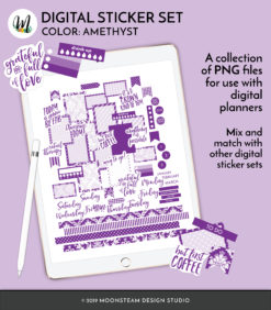 Amethyst Digital Planner Stickers by Moonsteam Design Studio