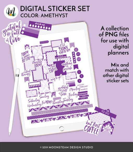 Amethyst Digital Planner Stickers by Moonsteam Design Studio