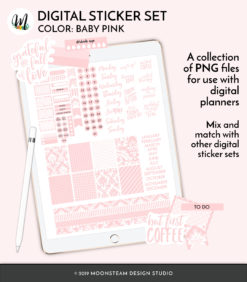 Baby Pink Digital Planner Stickers by Moonsteam Design Studio