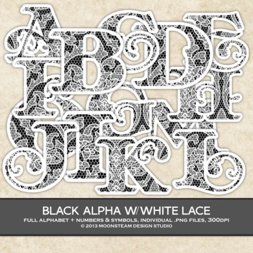 Black with White Lace Alphabet Clip Art by Moonsteam Design Studio