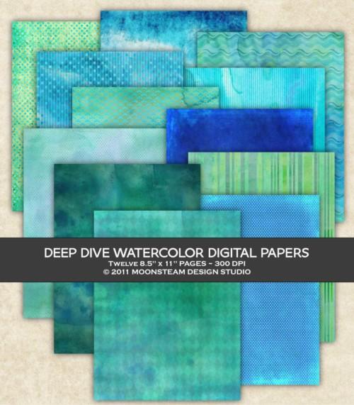Deep Dive Watercolor Digital Papers by Moonsteam Design Studio