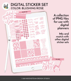 Blushing Rose Digital Planner Stickers by Moonsteam Design Studio