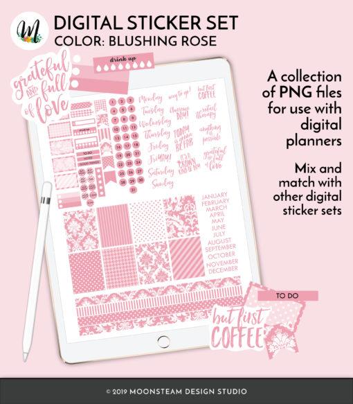 Blushing Rose Digital Planner Stickers by Moonsteam Design Studio