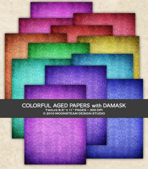 Color Basics Damask Digital Papers by Moonsteam Design Studio