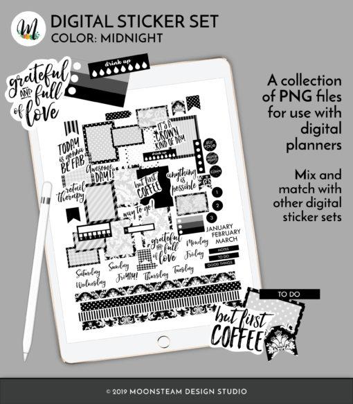 Midnight Black Digital Planner Stickers by Moonsteam Design Studio