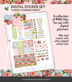 A Rosy Garden Party Digital Stickers by Moonsteam Design Studio