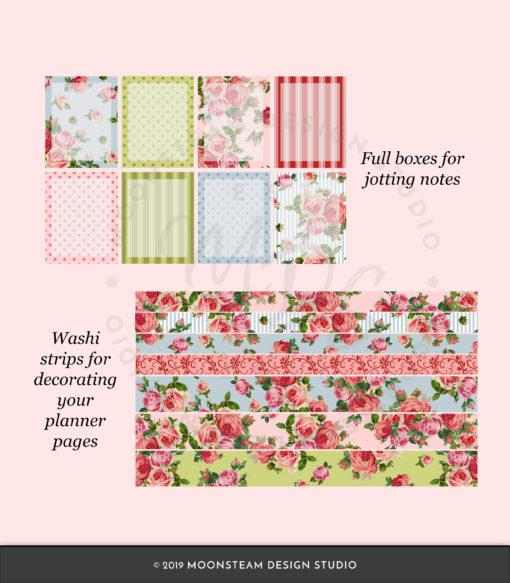 A Rosy Garden Party Digital Stickers by Moonsteam Design Studio
