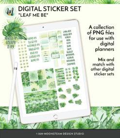 Leaf Me Be Digital Planner Stickers by Moonsteam Design Studio
