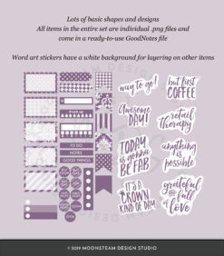 Dusty Purple Digital Planner Stickers by Moonsteam Design Studio