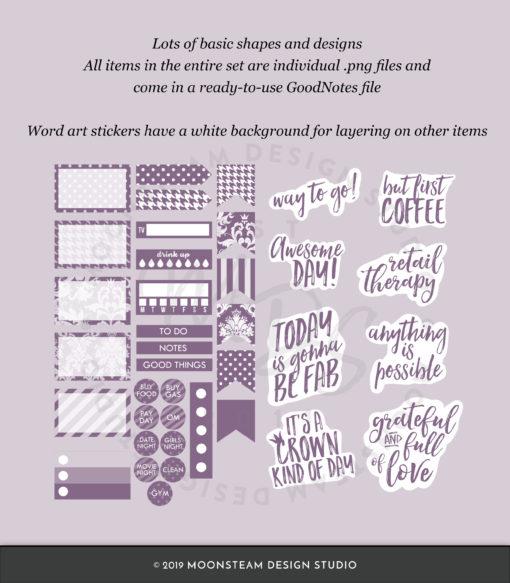 Dusty Purple Digital Planner Stickers by Moonsteam Design Studio