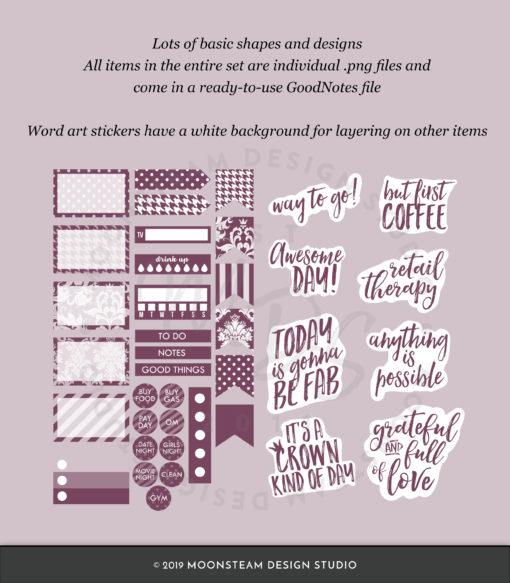 Dark Purple Digital Planning Stickers by Moonsteam Design Studio