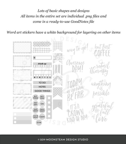 Light Gray Digital Planner Stickers by Moonsteam Design Studio