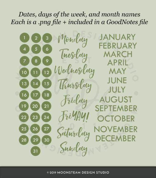 Moss Green Digital Stickers by Moonsteam Design Studio