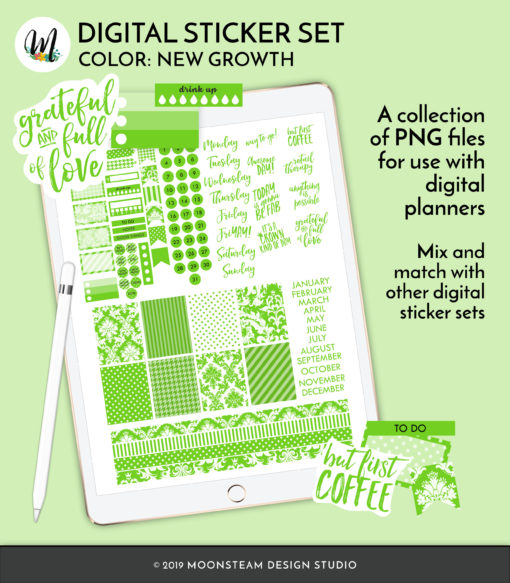 New Growth Digital Planner Stickers by Moonsteam Design Studio