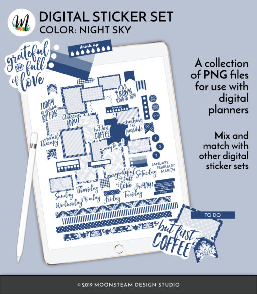 Night Sky Digital Planner Stickers by Moonsteam Design Studio