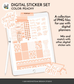 Peachy Digital Planner Stickers by Moonsteam Design Studio