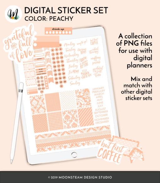Peachy Digital Planner Stickers by Moonsteam Design Studio
