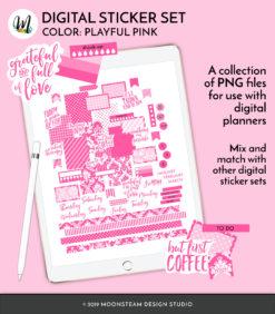 Playful Pink Digital Planner Stickers by Moonsteam Design Studio