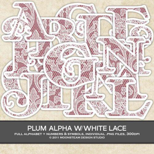 Plum Lace Alphabet Clip Art by Moonsteam Design Studio