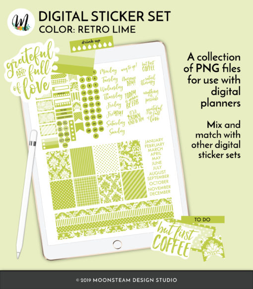 Retro Lime Digital Planner Stickers by Moonsteam Design Studio