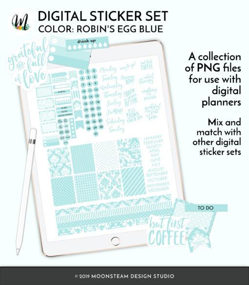 Robin's Egg Blue Digital Planner Stickers by Moonsteam Design Studio
