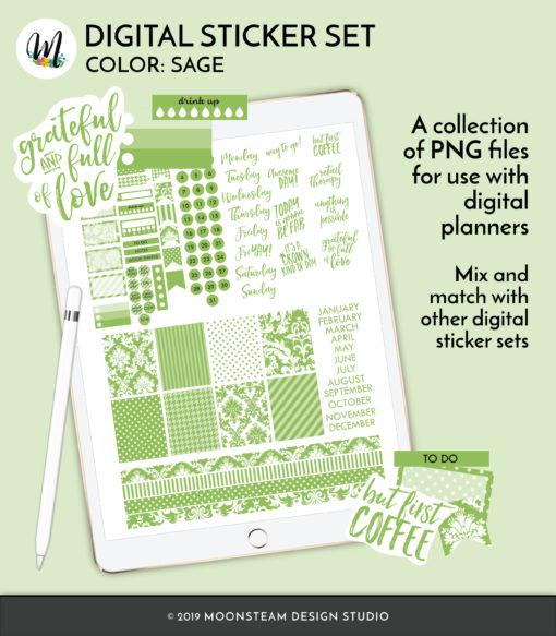 Sage Digital Planner Stickers by Moonsteam Design Studio