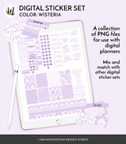 Wisteria Digital Planner Stickers by Moonsteam Design Studio