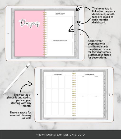 Simple Digital Planner for iPad by Moonsteam Design Studio