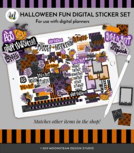 Halloween Fun Digital Planner Stickers by Moonsteam Design Studio