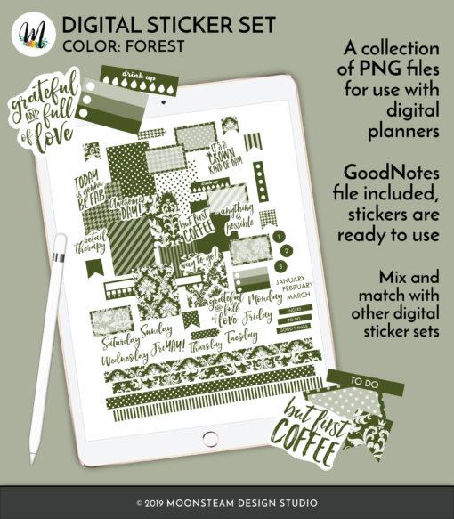 Forest Green Digital Stickers by Moonsteam Design Studio