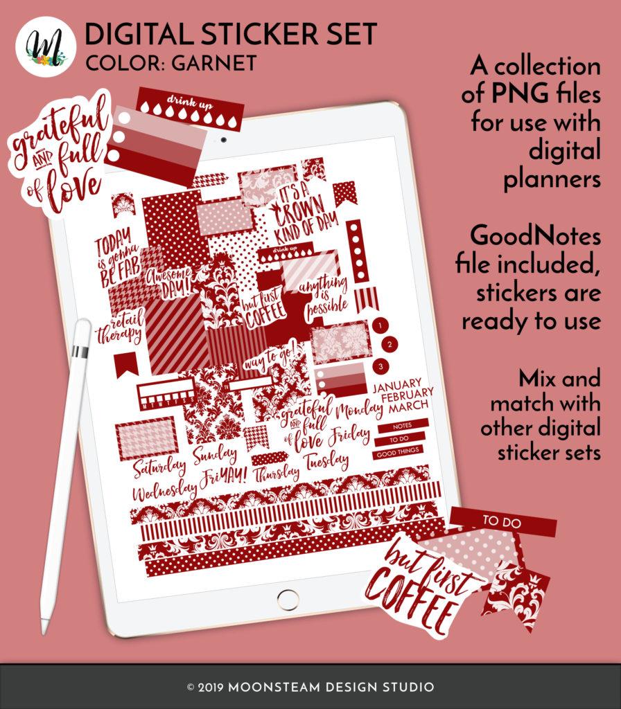 Garnet Red Digital Planner Stickers by Moonsteam Design Studio