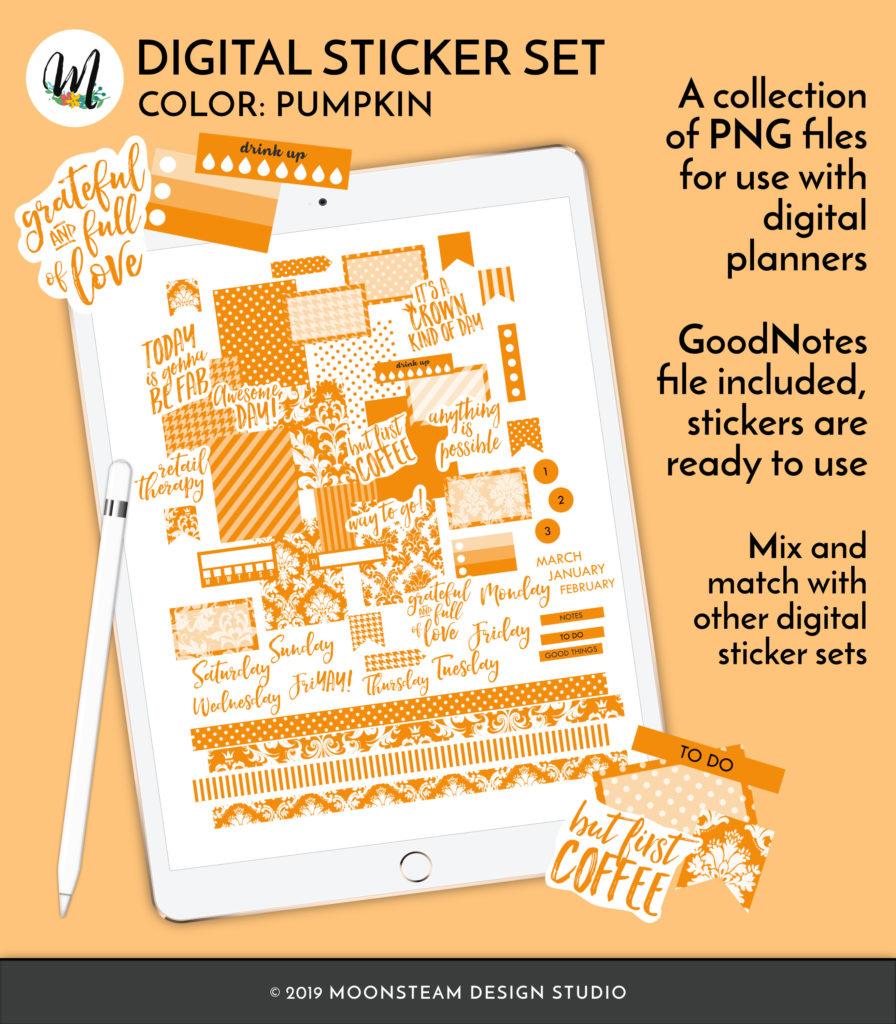 Pumpkin Orange Digital Planner Stickers by Moonsteam Design Studio