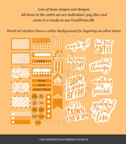 Pumpkin Orange Digital Planner Stickers by Moonsteam Design Studio
