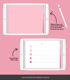 Pink Horizontal Digital Notebook by Moonsteam Design Studio
