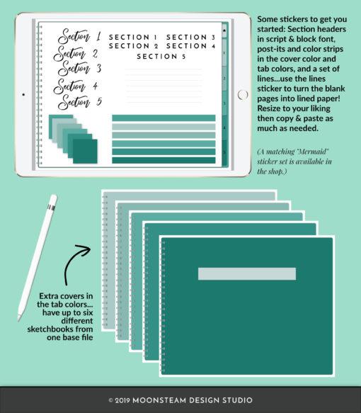 Mermaid Horizontal Digital Sketchbook by Moonsteam Design Studio