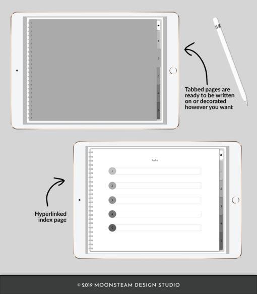 Platinum Horizontal Digital Sketchbook by Moonsteam Design Studio