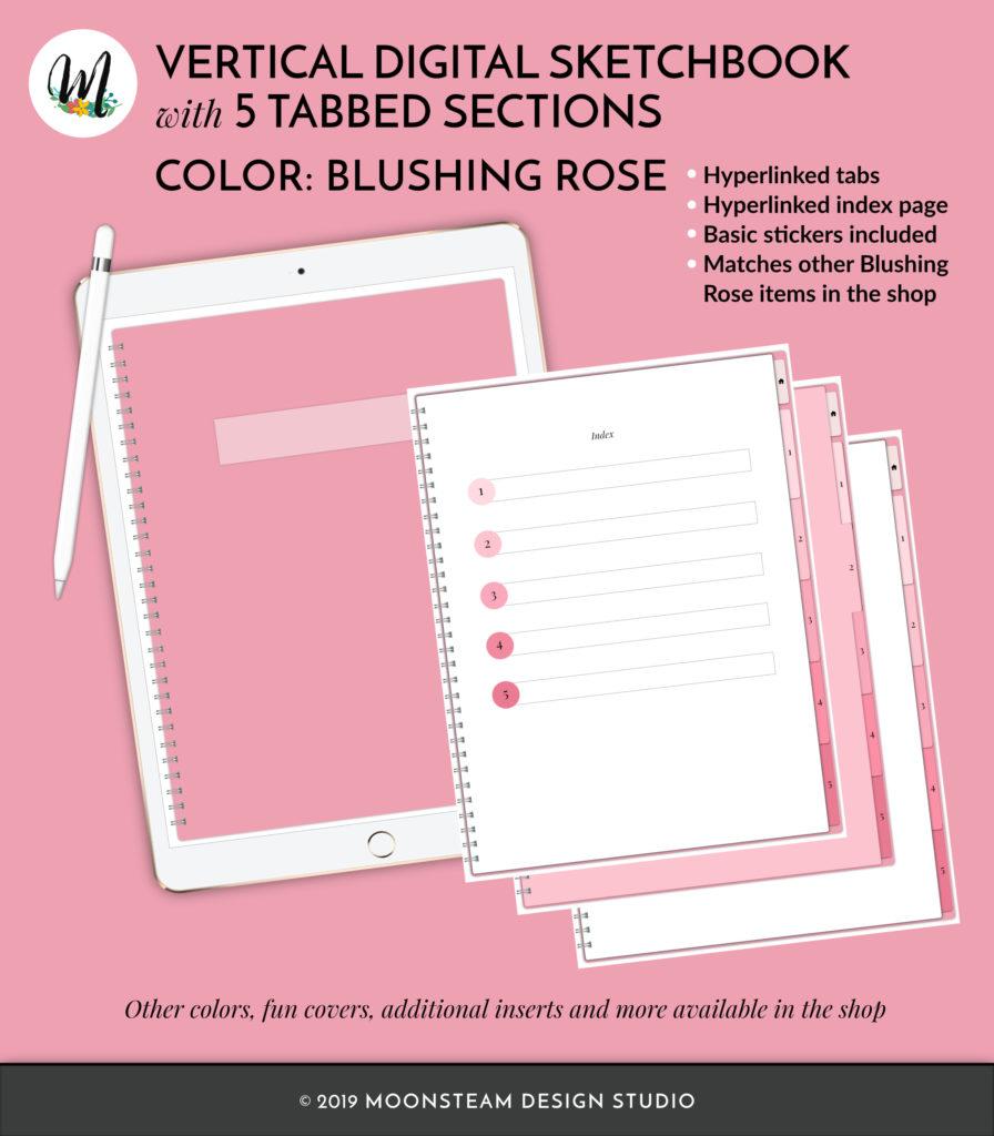 Blushing Rose Vertical Digital Sketchbook by Moonsteam Design Studio