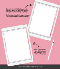 Blushing Rose Vertical Digital Sketchbook by Moonsteam Design Studio