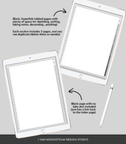 Platinum Vertical Digital Sketchbook by Moonsteam Design Studio