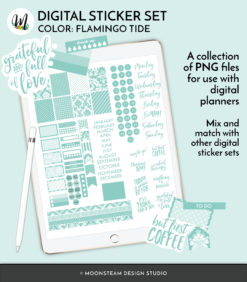 Flamingo Tide Digital Planner Stickers by Moonsteam Design Studio