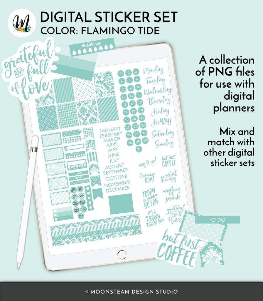 Flamingo Tide Digital Planner Stickers by Moonsteam Design Studio