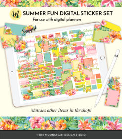 Summer Fun Digital Planner Stickers by Moonsteam Design Studio