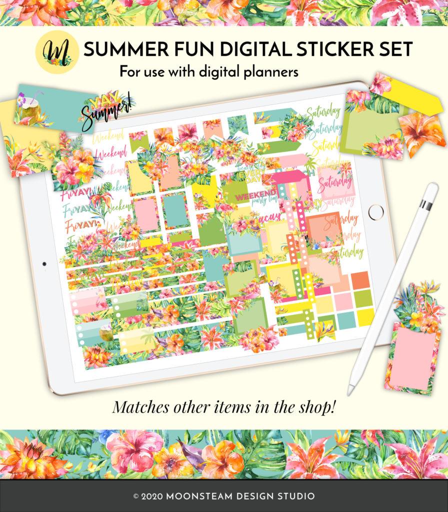 Summer Fun Digital Planner Stickers by Moonsteam Design Studio