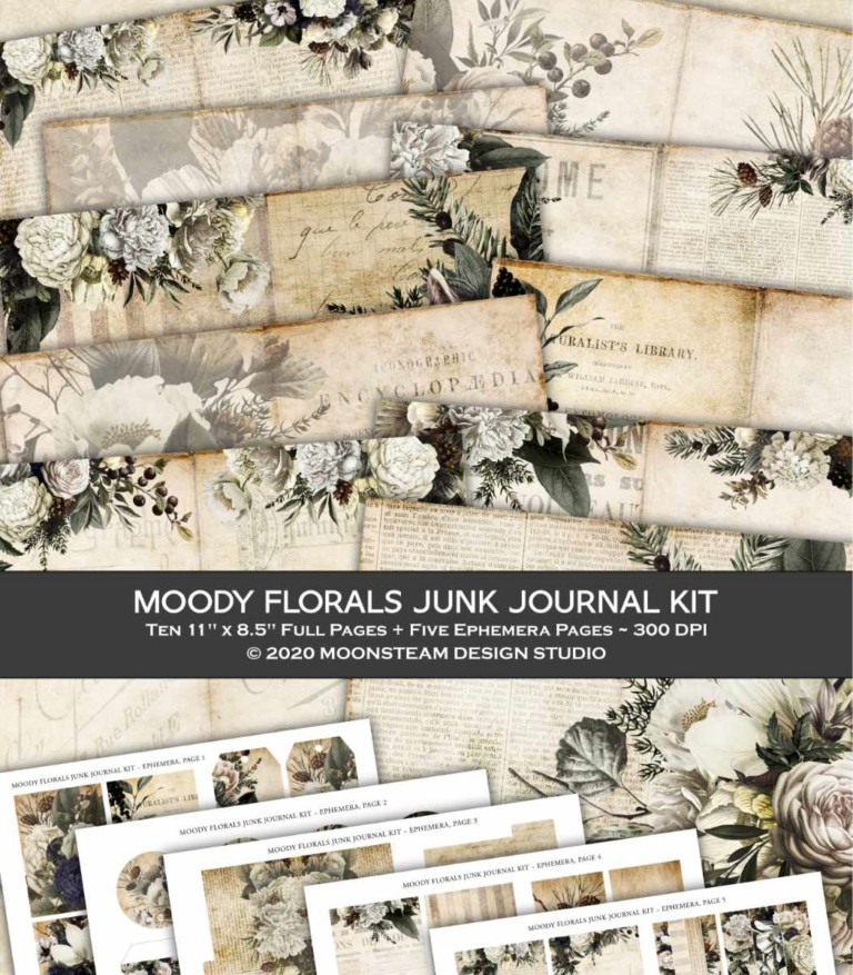 New junk journal kit: Moody Florals