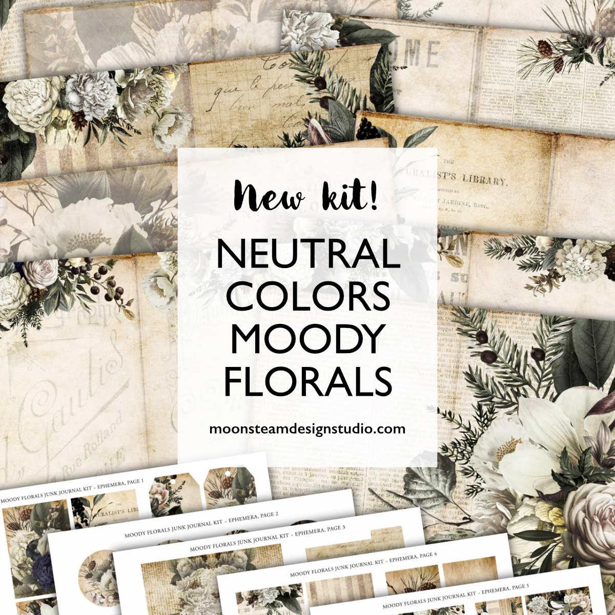 Moody Florals Junk Journal Kit