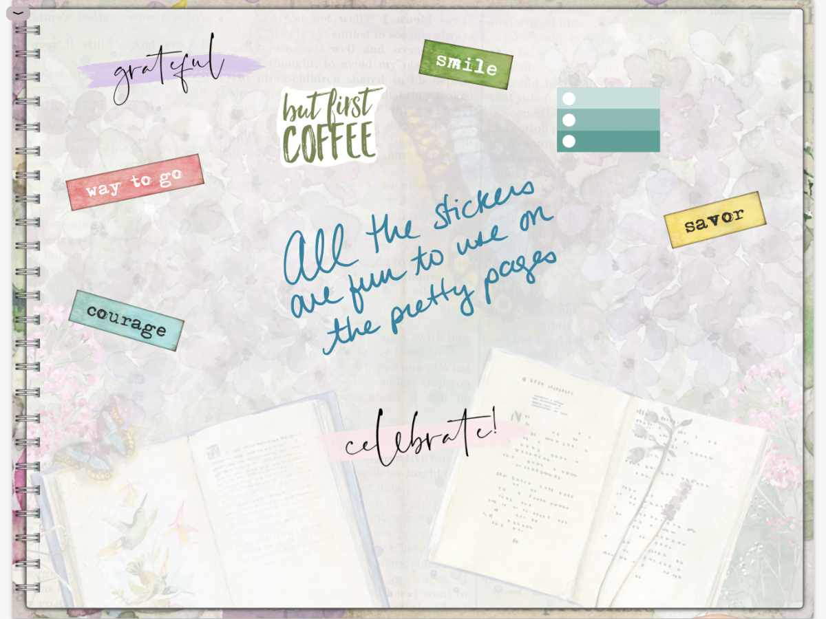 This is how the digital stickers look on one of the new digital notebook pages.