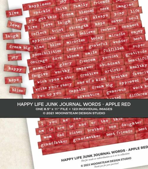 Happy Life Junk Journal Words in Apple Red by Moonsteam Design Studio