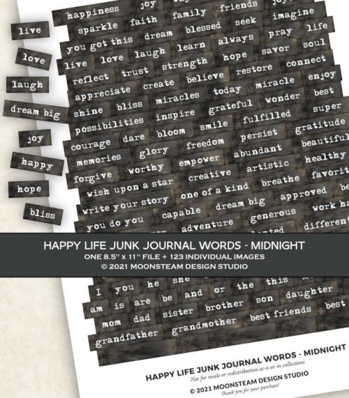 Happy Life Junk Journal Words in Midnight by Moonsteam Design Studio