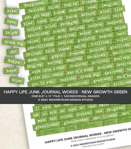 Happy Life Junk Journal Words in New Growth Green by Moonsteam Design Studio
