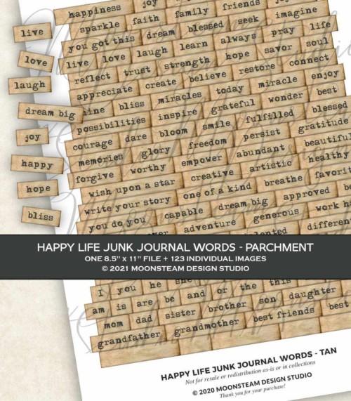 Happy Life Junk Journal Words in Parchment by Moonsteam Design Studio
